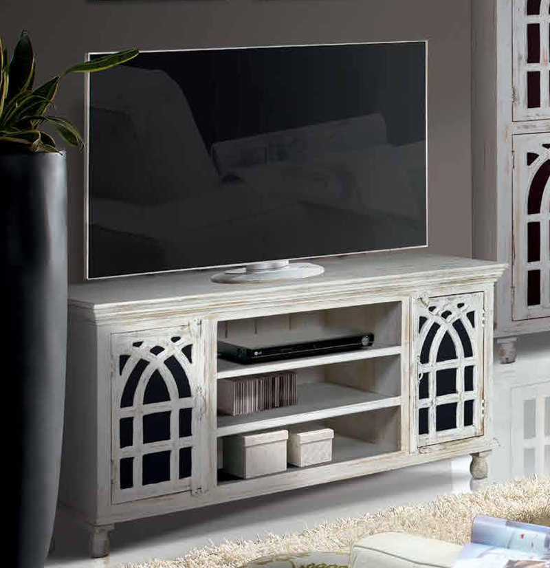 Mesa tv madera de mango ref 6401 mueble home for Muebles madera maciza outlet